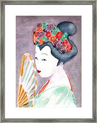 Framed Print featuring the painting Geisha by Paula Ayers
