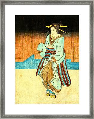 Geisha Strolling 1830 Framed Print