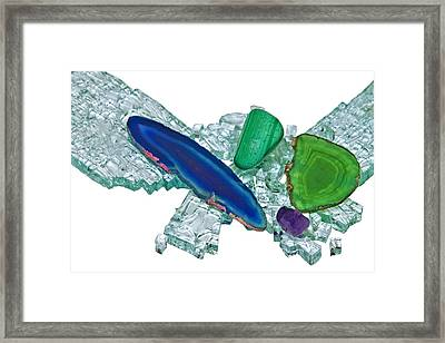 Gemstones And Broken Glass Framed Print by Susan Leggett