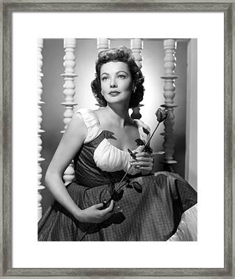 Gene Tierney Glamour Portrait Framed Print by Everett