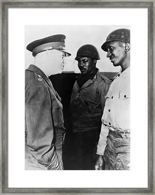 General Dwight Eisenhower Talking Framed Print by Everett