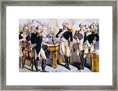 General George Washington Taking Leave Framed Print by Everett