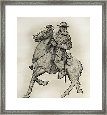 General James Longstreet Statue At Gettysburg  Framed Print by Randy Steele