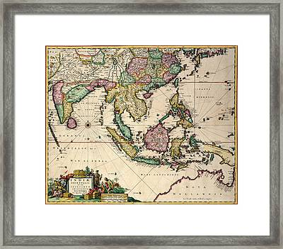 General Map Extending From India And Ceylon To Northwestern Australia By Way Of Southern Japan Framed Print by Nicolaes Visscher Claes Jansz