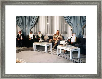 General Norman Schwarzkopf Visits Framed Print by Everett