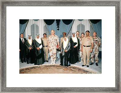 General Norman Schwarzkopf With Shaikh Framed Print by Everett