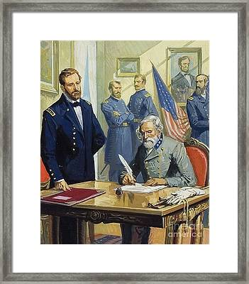 General Ulysses Grant Accepting The Surrender Of General Lee At Appomattox  Framed Print by Severino Baraldi