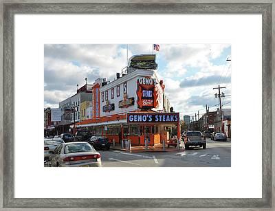 Geno's Steaks - South Philadelphia Framed Print by Bill Cannon
