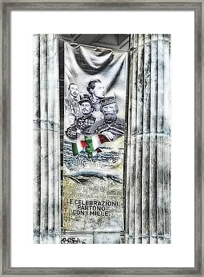 Genova 150 Years Of Italy Famous Garibaldi Mameli Founders Framed Print