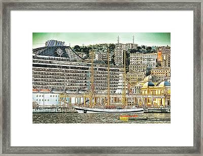 Genova Cruising And Sailing Ships And Buildings Landscape Framed Print by Enrico Pelos