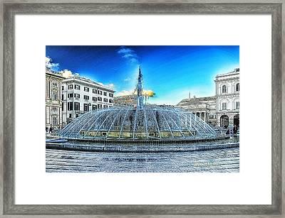 Genova De Ferrari Square Fountain And Buildings Framed Print by Enrico Pelos