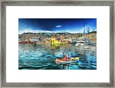 Genova Port Ships And Boats Framed Print by Enrico Pelos