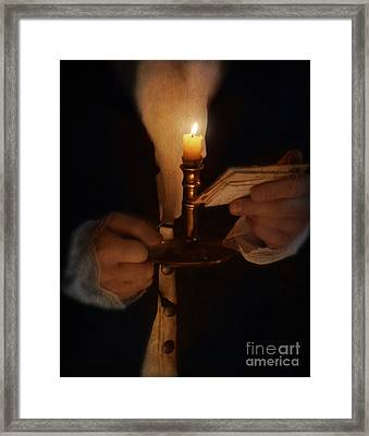 Gentleman In Vintage Clothing With Candlestick And Letters Framed Print