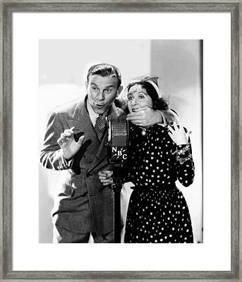 George Burns And Gracie Allen Recording Framed Print by Everett