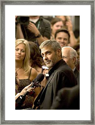 George Clooney At Arrivals For Michael Framed Print by Everett