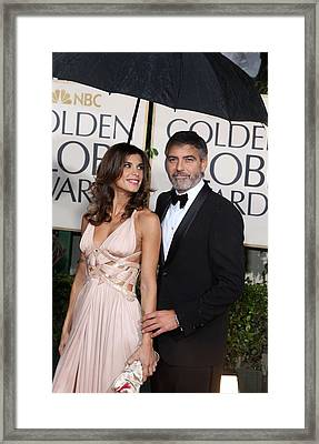 George Clooney, Elisabetta Canalis Framed Print by Everett