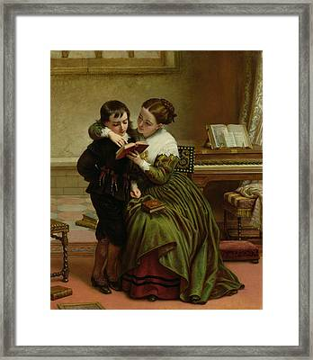 George Herbert And His Mother Framed Print by Charles West Cope
