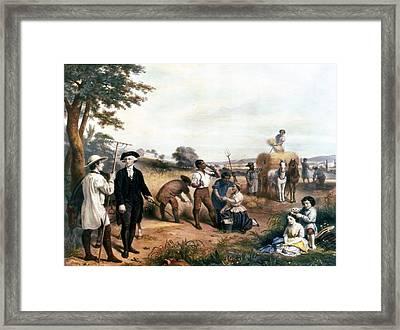 George Washington As A Farmer, Standing Framed Print by Everett