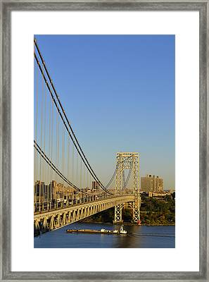 George Washington Bridge And Boat Framed Print by Zawhaus Photography
