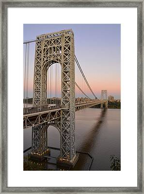 George Washington Bridge At Sunset Framed Print by Zawhaus Photography