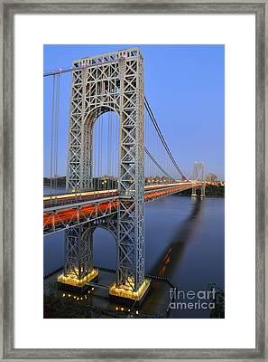George Washington Bridge At Twilight Framed Print by Zawhaus Photography