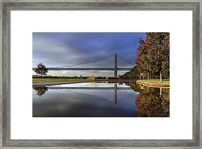 George Washington Bridge Reflections Framed Print by Dave Sribnik