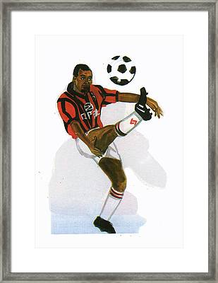 George Weah In Action Framed Print by Emmanuel Baliyanga