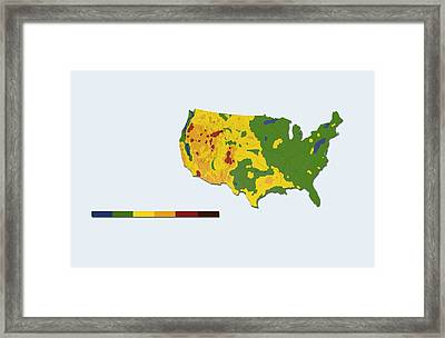Geothermal Mapping, Usa Framed Print by Claus Lunau