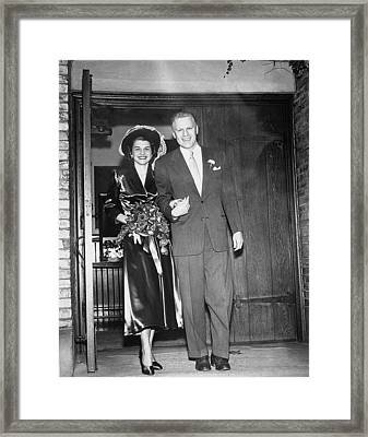 Gerald And Betty Ford Walk Out Of Grace Framed Print