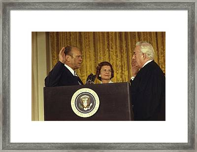 Gerald R. Ford Is Sworn In As The 38th Framed Print by Everett