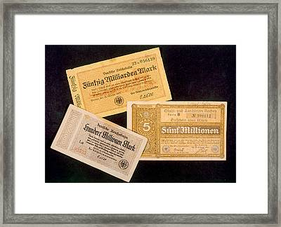 German Currency Issued Framed Print