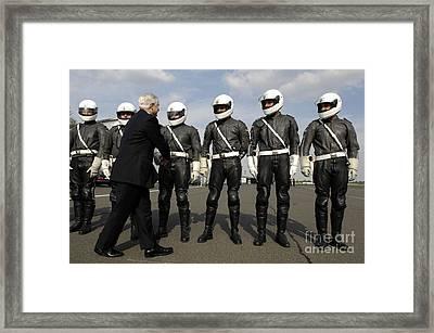 German Motorcycle Police Shake Hands Framed Print by Stocktrek Images