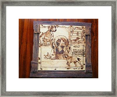 German Pointer -fine Art Pyrography On Birch Wood Plaque Framed Print by Egri George-Christian