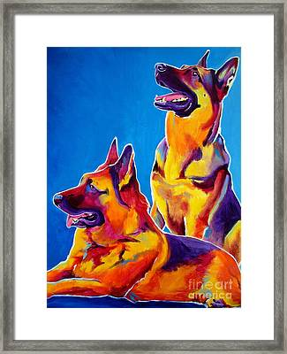 German Shepherd - Eiko And Erin Crop Framed Print by Alicia VanNoy Call