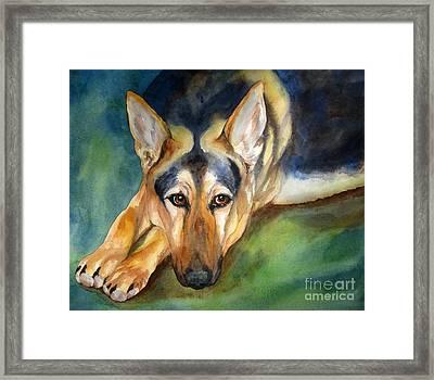 German Shepherd Framed Print by Cherilynn Wood