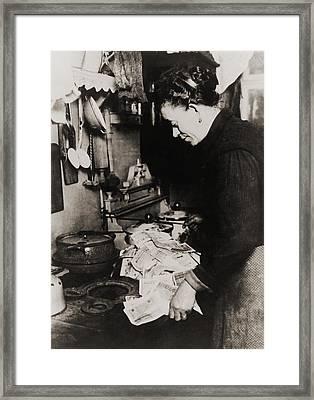 German Women Burning Money To Fuel Framed Print