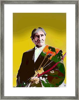 Framed Print featuring the mixed media Geronimo by Charles Shoup