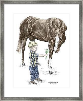 Getting To Know You - Boy And Horse Print Color Tinted Framed Print by Kelli Swan