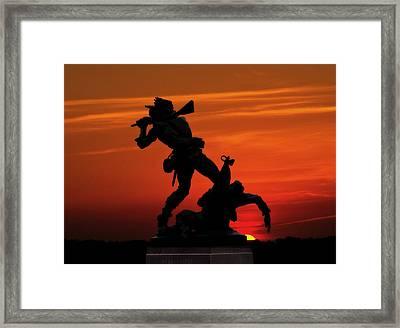 Gettysburg Battlefield Mississippi Memorial Sunset Framed Print by Randy Steele