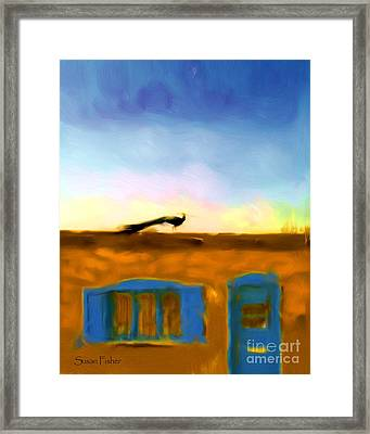 Framed Print featuring the painting G'evening Peacock by Susan Fisher