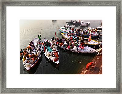 Ghats Of Varanasi, India Framed Print by Soumen Nath Photography