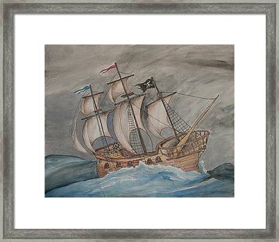 Ghost Pirate Ship Framed Print