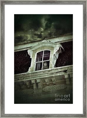 Ghostly Girl In Upstairs Window Framed Print by Jill Battaglia