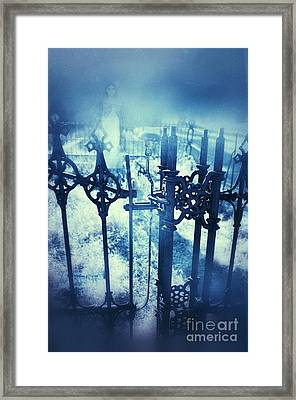 Ghostly Woman In The Cemetery Framed Print by Jill Battaglia