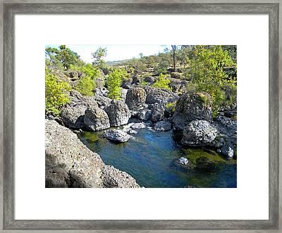 Giant Basalt Boulders Swimming Hole Framed Print