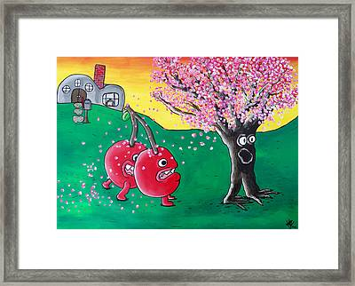 Giant Cherries Chasing Cherry Tree Framed Print by Jera Sky