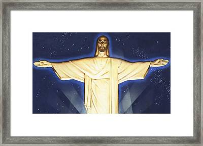 Giant Figure Of Christ Framed Print