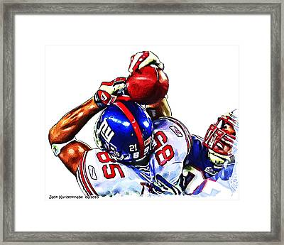Giants David Tyree Framed Print by Jack K