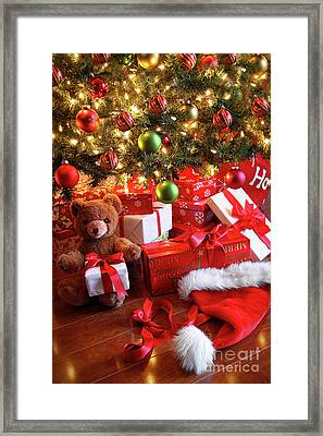 Gifts Under The Tree For Christmas Framed Print by Sandra Cunningham