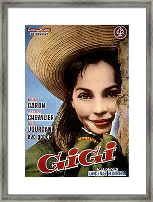 Gigi, Leslie Caron, 1958, Poster Art Framed Print by Everett